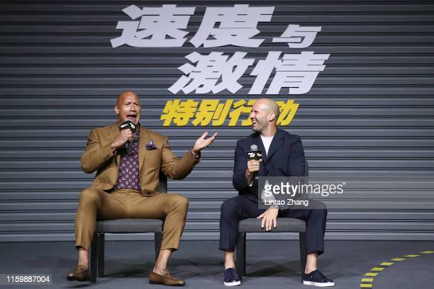 "Jason Statham and Dwayne Johnson attends the ""Fast & Furious: Hobbs & Shaw"" fans Meeting and China Press Conference on August 5, 2019 in Beijing,..."