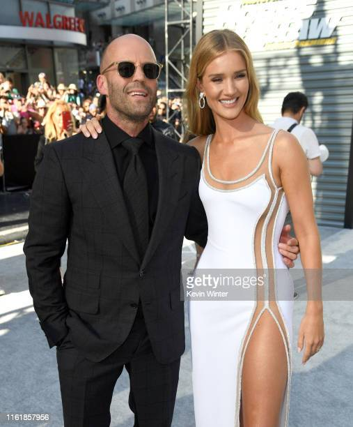 """Jason Statham and Rosie Huntington-Whiteley arrive at the premiere of Universal Pictures' """"Fast & Furious Presents: Hobbs & Shaw"""" at Dolby Theatre on..."""