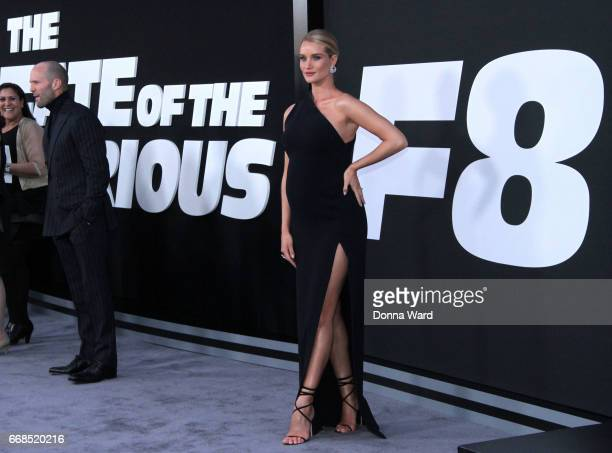 Jason Statham and Rosie HuntingtonWhiteley attend 'The Fate of The Furious' New York Premiere at Radio City Music Hall on April 8 2017 in New York...