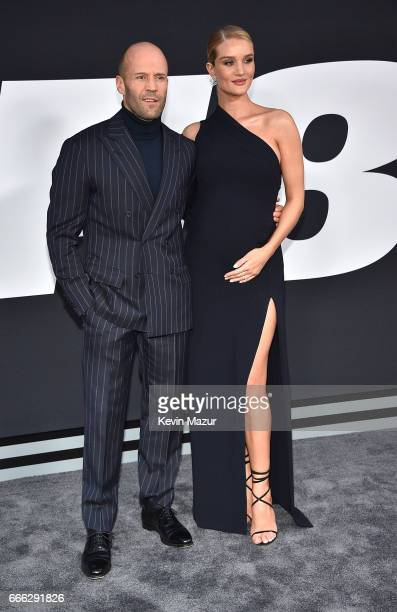 Jason Statham and Rosie HuntingtonWhiteley attends 'The Fate Of The Furious' New York premiere at Radio City Music Hall on April 8 2017 in New York...