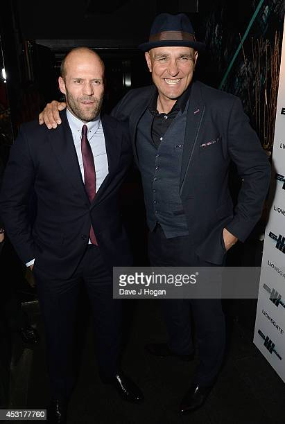 Jason Statham and Vinnie Jones attend 'The Expendables 3' after party at Dstrkt on August 4 2014 in London England The Expendables 3 is released on...