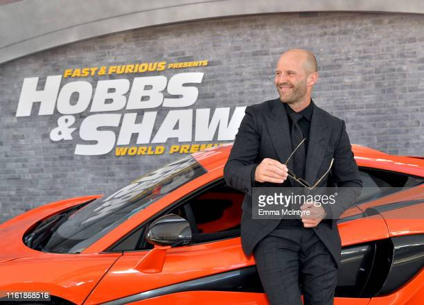"Jason Statham arrives at the premiere of Universal Pictures' ""Fast & Furious Presents: Hobbs & Shaw"" at Dolby Theatre on July 13, 2019 in Hollywood,..."