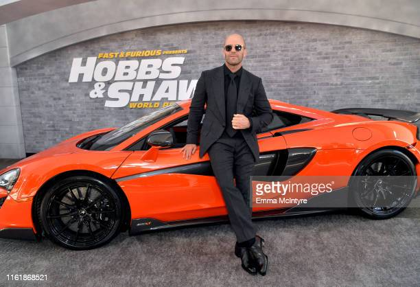 Jason Statham arrives at the premiere of Universal Pictures' Fast Furious Presents Hobbs Shaw at Dolby Theatre on July 13 2019 in Hollywood California