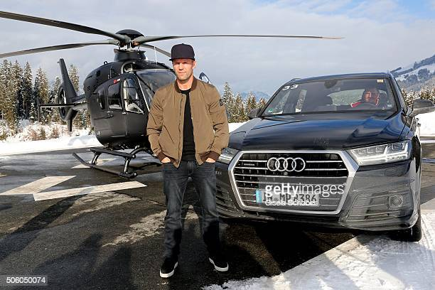 Jason Statham arrives to AUDI Hahnenkamm race weekend in Kitzbuehel on January 21 2016 in Kitzbuehel Austria