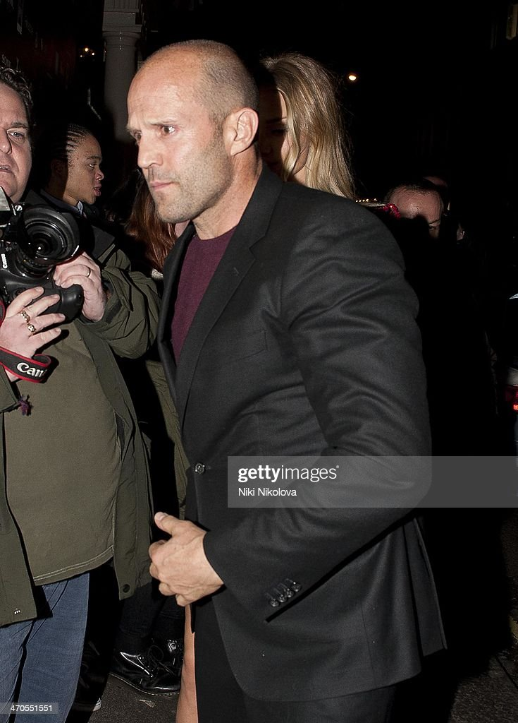 Jason Statham is seen arriving at the Sony party held at the Arts Club, Mayfair on February 19, 2014 in London, England.