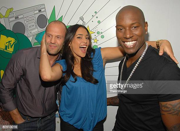 Jason Statham Natalie Martinez and Tyrese Gibson of the movie 'Death Race' visit MTV's 'TRL' at MTV studios on August 19 2008 in New York City