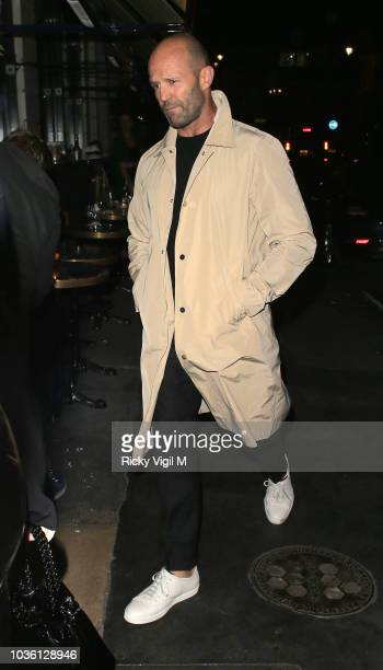 Jason Statham seen on a night out leaving Gymkhana restaurant and heading to Isabel Mayfair for drinks on September 19 2018 in London England