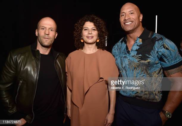 Jason Statham Universal Filmed Entertainment Group Chairman Donna Langley and Dwayne Johnson at CinemaCon 2019 Universal Pictures Invites You to a...