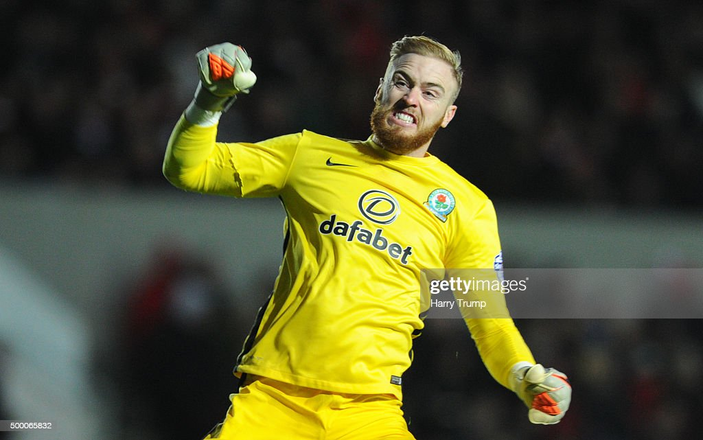 Jason Steele of Blackburn Rovers celebrates as Grant Hanley of Blackburn Rovers|(not pictured) scores his sides first goal during the Sky Bet Championship match between Bristol City and Blackburn Rovers at Ashton Gate on December 5, 2015 in Bristol, England.