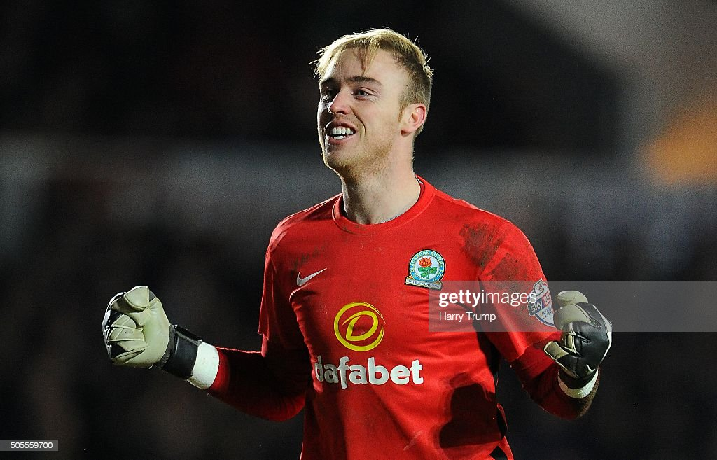 Jason Steele of Blackburn Rovers celebrates as Jordan Rhodes of Blackburn Rovers(not pictured) scores his sides second goal during the Emirates FA Cup Third Round match between Newport County and Blackburn Rovers at Rodney Parade on January 18, 2016 in Newport, Wales.