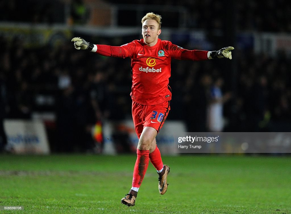 Jason Steele of Blackburn Rovers celebrates as Jordan Rhodes of Blackburn Rovers (not pictured) scores his sides second goal during the Emirates FA Cup Third Round match between Newport County and Blackburn Rovers at Rodney Parade on January 18, 2016 in Newport, Wales.