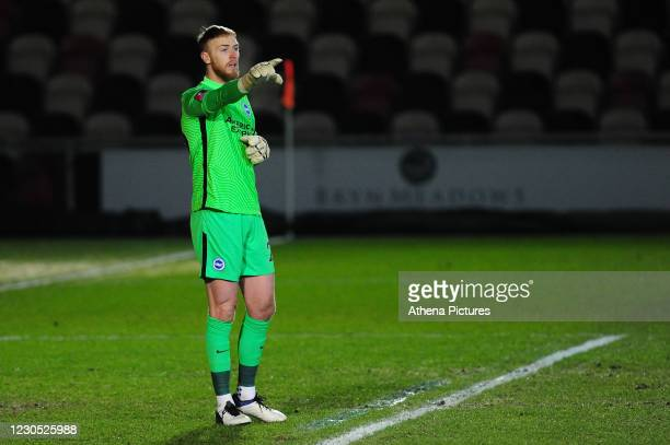 Jason Steele of Brighton & Hove Albion in action during the FA Cup Third Round match between Newport County and Brighton And Hove Albion at Rodney...