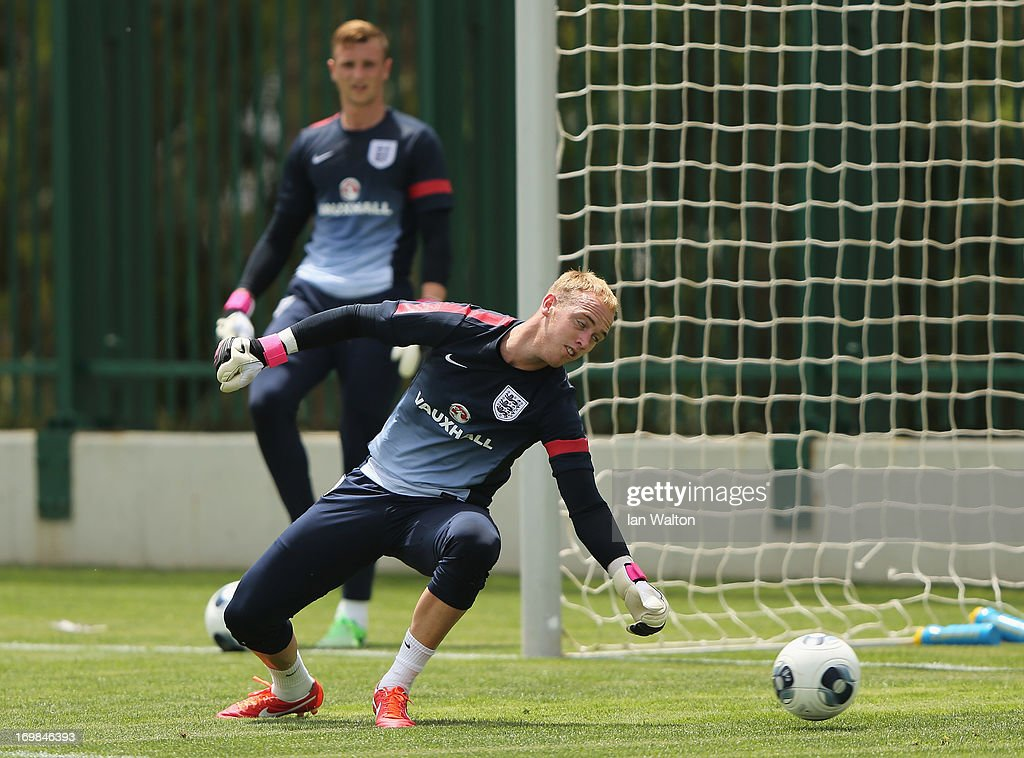 Jason Steele of England attend an England U21's Training session on June 3, 2013 in Netanya, Israel.