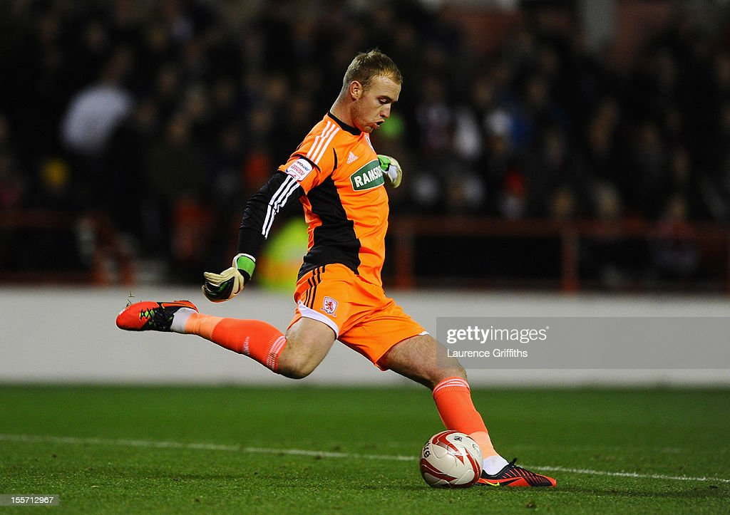 Jason Steele of Middlesbrough in action during the npower Championship match between Nottingham Forest and Middlesbrough at the City Ground on November 6, 2012 in Nottingham, England.
