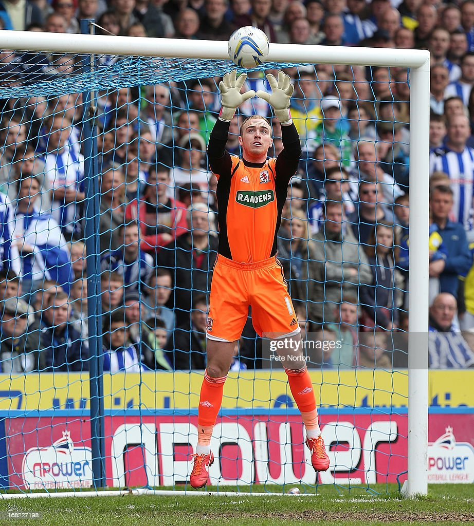 Jason Steele of Middlesbrough in action during the npower Championship match between Sheffield Wednesday and Middlesbrough at Hillsborough Stadium on May 4, 2013 in Sheffield, England.