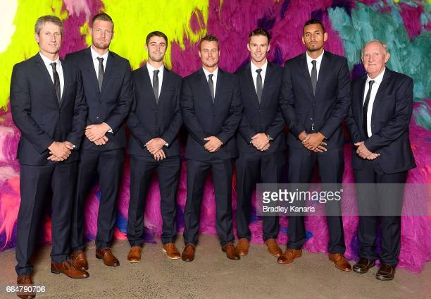 Jason Stoltenberg Sam Groth Jordan Thompson Lleyton Hewitt John Peers Nick Kyrgios and Tony Roche of Australia pose for a photo before the official...