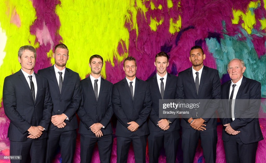 Jason Stoltenberg, Sam Groth, Jordan Thompson, Lleyton Hewitt, John Peers, Nick Kyrgios and Tony Roche of Australia pose for a photo before the official dinner at GOMA ahead of the Davis Cup World Group Quarterfinal match between Australia and the USA on April 5, 2017 in Brisbane, Australia.