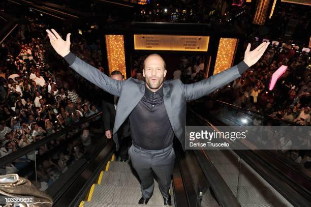 Jason Stratham arrives at Planet Hollywood Casino Resort on August 11 2010 in Las Vegas Nevada
