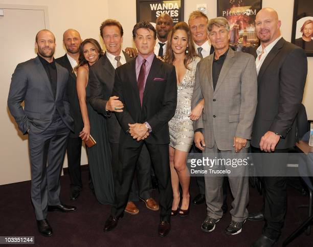 Jason Stratham Randy Couture Charisma Carpenter Governor of California Arnold Schwarzeneggar Sylvester Stallone Terry Crews Giselle Itie Dolph...