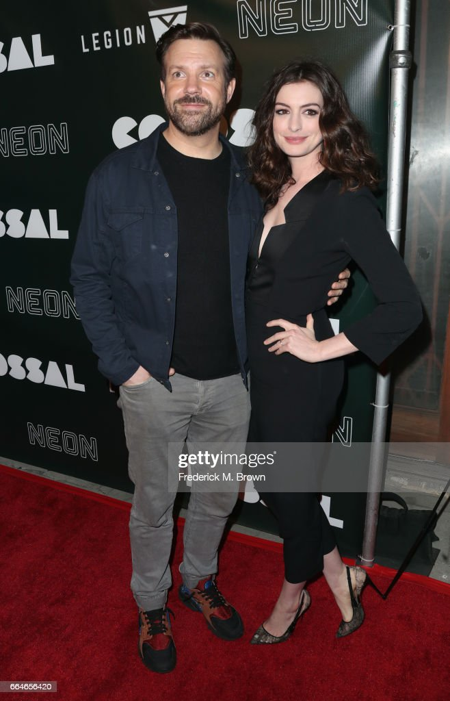 Jason Sudeikis and actor Anne Hathaway attend the Premiere Of Neon's 'Colossal' at the Vista Theatre on April 4, 2017 in Los Angeles, California.