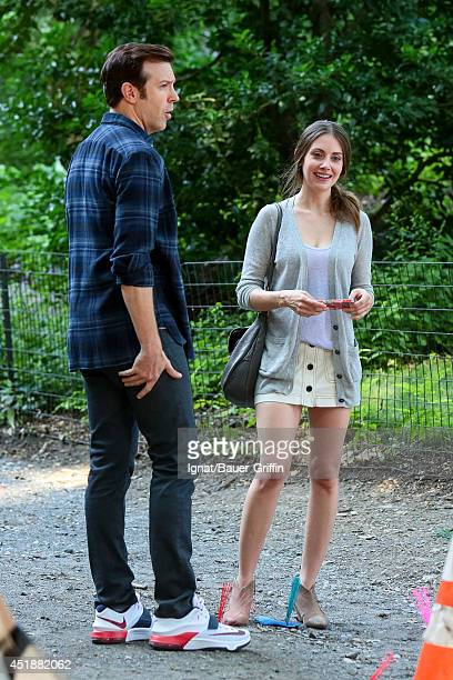 Jason Sudeikis and Alison Brie on the set of 'Sleeping With Other People' on July 08 2014 in New York City