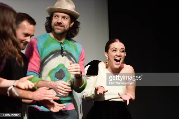 Jason Sudeikis and Billie Lourd attend the Booksmart Premiere 2019 SXSW Conference and Festivals at Paramount Theatre on March 10 2019 in Austin Texas