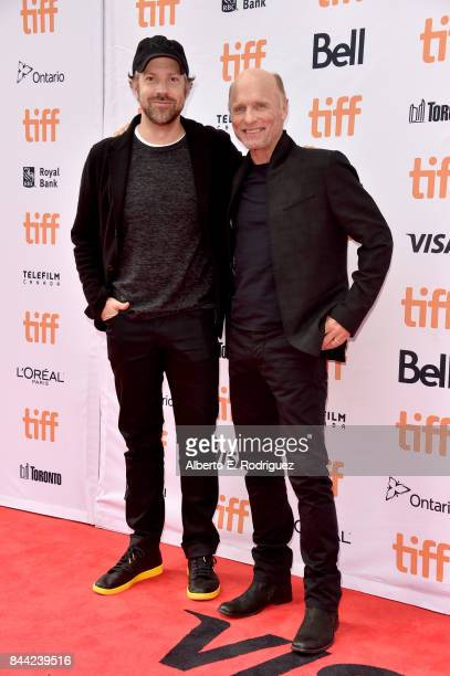 Jason Sudeikis and Ed Harris attend the 'Kodachrome' premiere during the 2017 Toronto International Film Festival at Princess of Wales Theatre on...