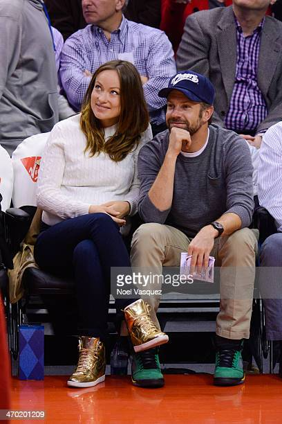 Jason Sudeikis and Olivia Wilde attend a basketball game between the San Antonio Spurs and the Los Angeles Clippers at Staples Center on February 18...