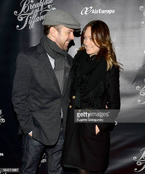 Jason Sudeikis and Olivia WIlde attend 'Breakfast At Tiffany's' Broadway Opening Night at Cort Theatre on March 20 2013 in New York City