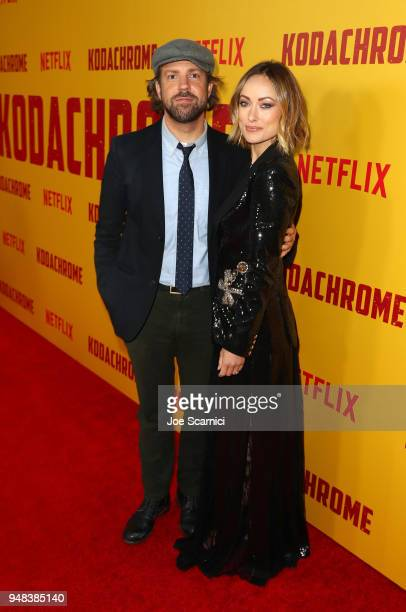 Jason Sudeikis and Olivia Wilde attend Los Angeles special screening of Netflix's film 'KODACHROME' on April 18 2018 in Hollywood California