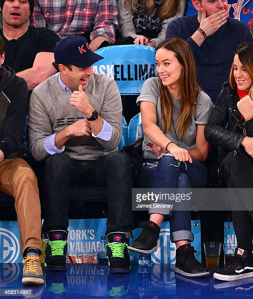 Jason Sudeikis and Olivia Wilde attend New York Knicks vs Charlotte Hornets game at Madison Square Garden on November 2 2014 in New York City