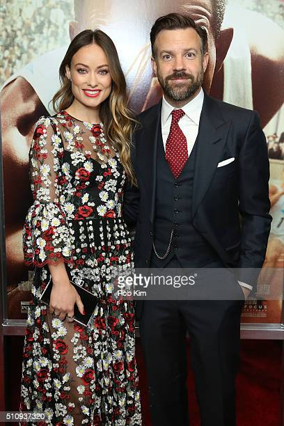 Jason Sudeikis and Olivia Wilde attend the New York Screening of 'Race' at Landmark's Sunshine Cinema on February 17 2016 in New York City