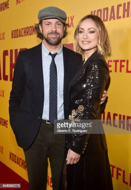 Jason Sudeikis and Olivia Wilde attend the premiere of Netflix's 'Kodachrome' at ArcLight Cinemas on April 18 2018 in Hollywood California