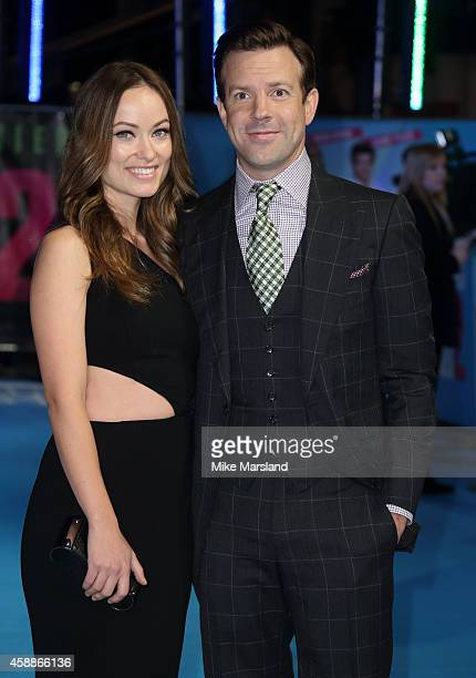 Jason Sudeikis and Olivia Wilde attend the UK Premiere of Horrible Bosses 2 at Odeon West End on November 12 2014 in London England