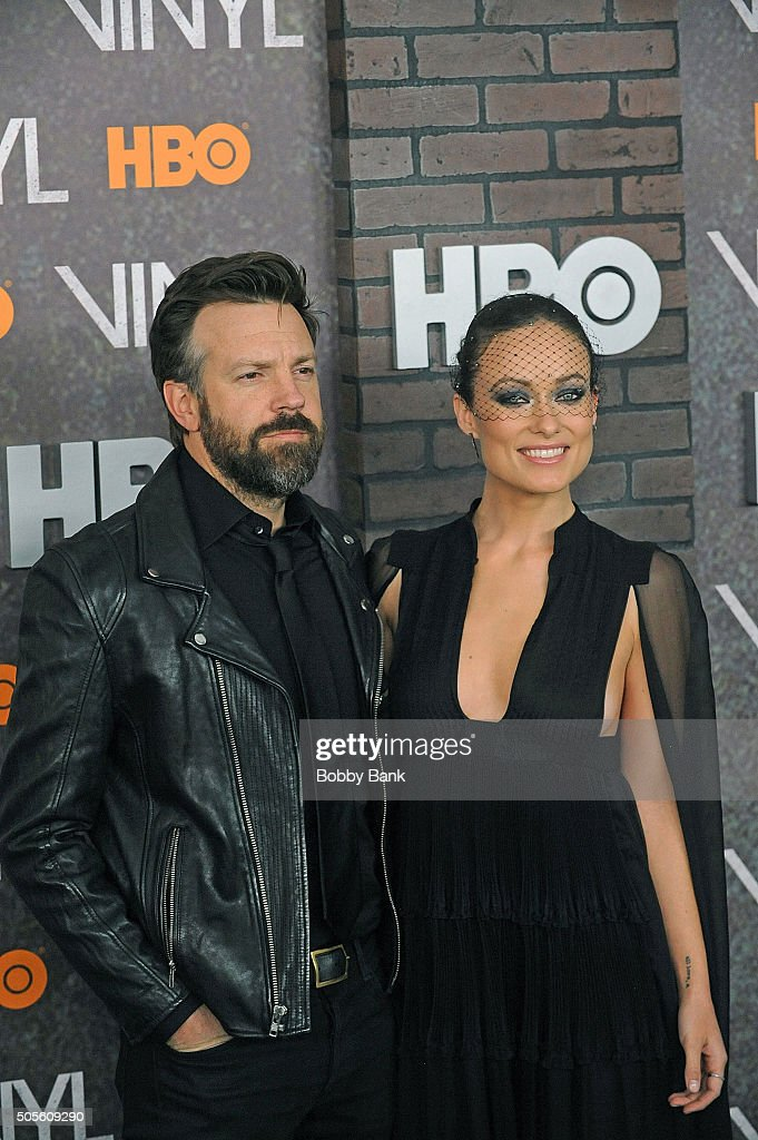 Jason Sudeikis and Olivia Wilde attends the 'Vinyl' New York Premiere at Ziegfeld Theatre on January 15, 2016 in New York City.