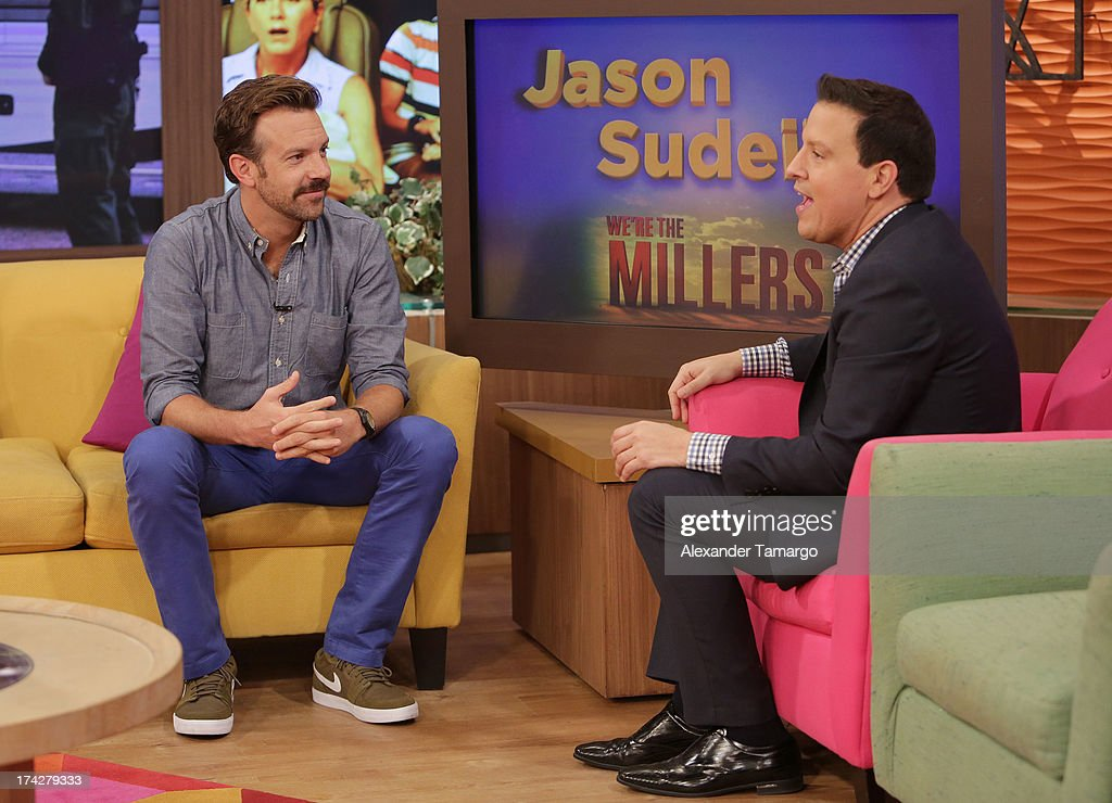 Jason Sudeikis and Raul Gonzalez visits Univisions Despierta America at Univision Headquarters on July 23, 2013 in Miami, Florida.