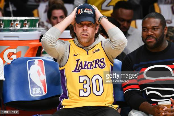 Jason Sudeikis attends a basketball game between the Los Angeles Lakers and the Cleveland Cavaliers at Staples Center on March 11 2018 in Los Angeles...