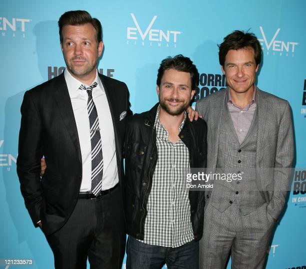 Jason Sudeikis Charlie Day and Jason Bateman arrive at the premiere of Horrible Bosses at Event Cinemas on August 16 2011 in Sydney Australia