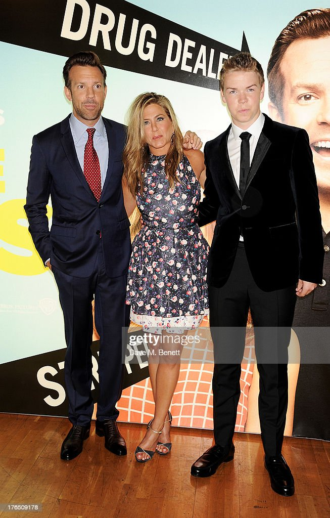 Jason Sudeikis, Jennifer Aniston and Will Poulter attend the European Premiere of 'We're The Millers' at Odeon West End on August 14, 2013 in London, England.