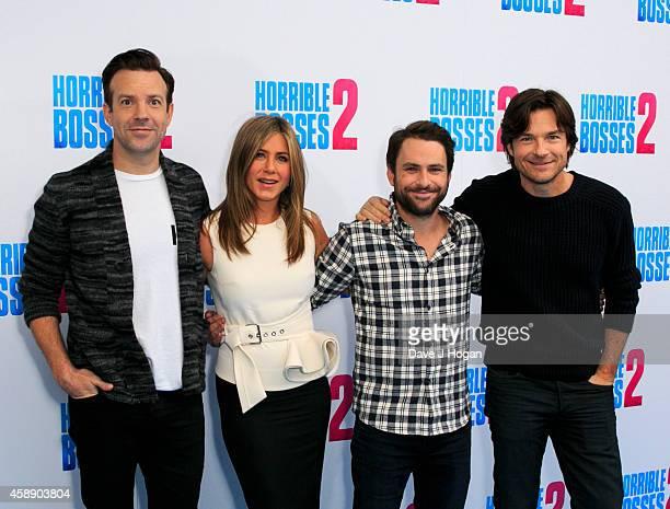 Jason Sudeikis Jennifer Aniston Charlie Day and Jason Bateman attend the 'Horrible Bosses 2' photocall at Corinthia Hotel London on November 13 2014...