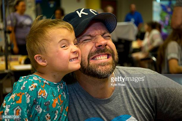 Jason Sudeikis meets with patients at Children's Mercy Hospital during the Big Slick Celebrity Weekend benefitting Children's Mercy Hospital of...