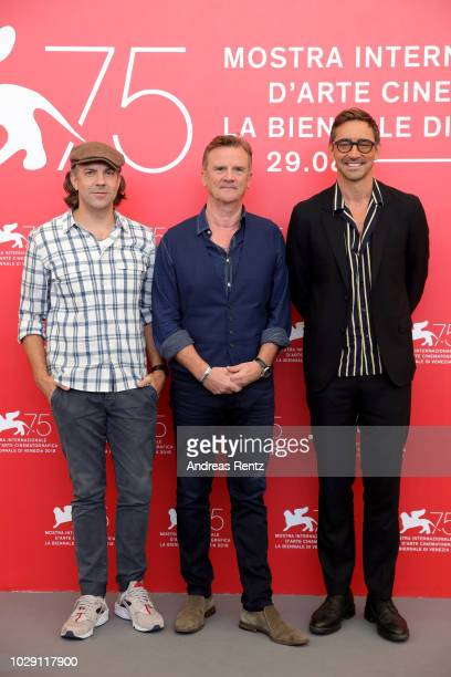 """Jason Sudeikis, Nick Hamm and Lee Pace attend """"Driven"""" photocall during the 75th Venice Film Festival at Sala Casino on September 8, 2018 in Venice,..."""