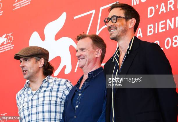 Jason Sudeikis Nick Hamm and Lee Pace attend 'Driven' photocall during the 75th Venice Film Festival on September 8 2018 in Venice Italy