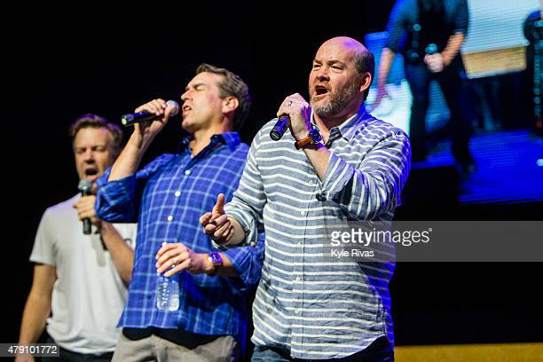 Jason Sudeikis Rob Riggle and David Koechner practice on stage before the Big Slick Celebrity Party Live Action for Children's Mercy Hospital at the...