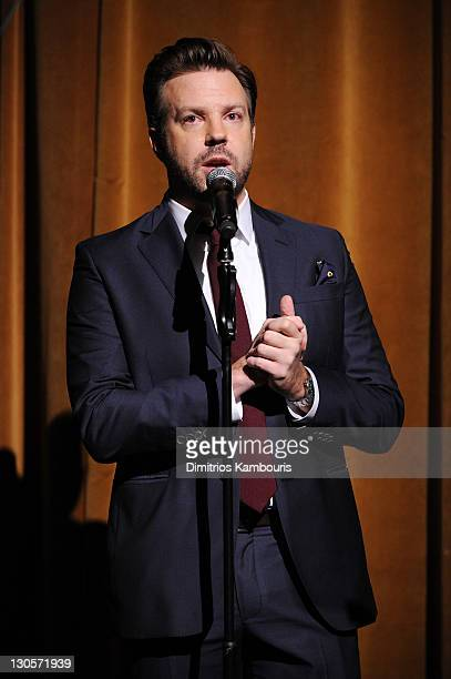 Jason Sudeikis speaks onstage at GQ's Gentlemen's Ball Presented By Gentleman Jack Land Rover Movado and Nautica at The Edison Ballroom on October 26...