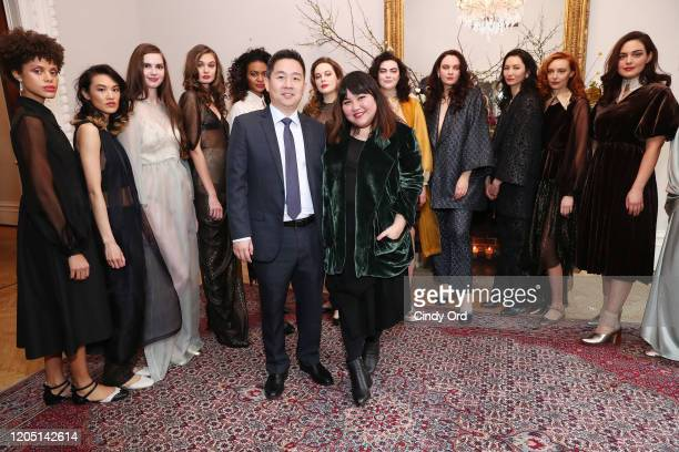 Jason Tabalujan Chong and Jasmine Chong pose with models after the Jasmine Chong presentation during New York Fashion Week on February 09 2020 in New...