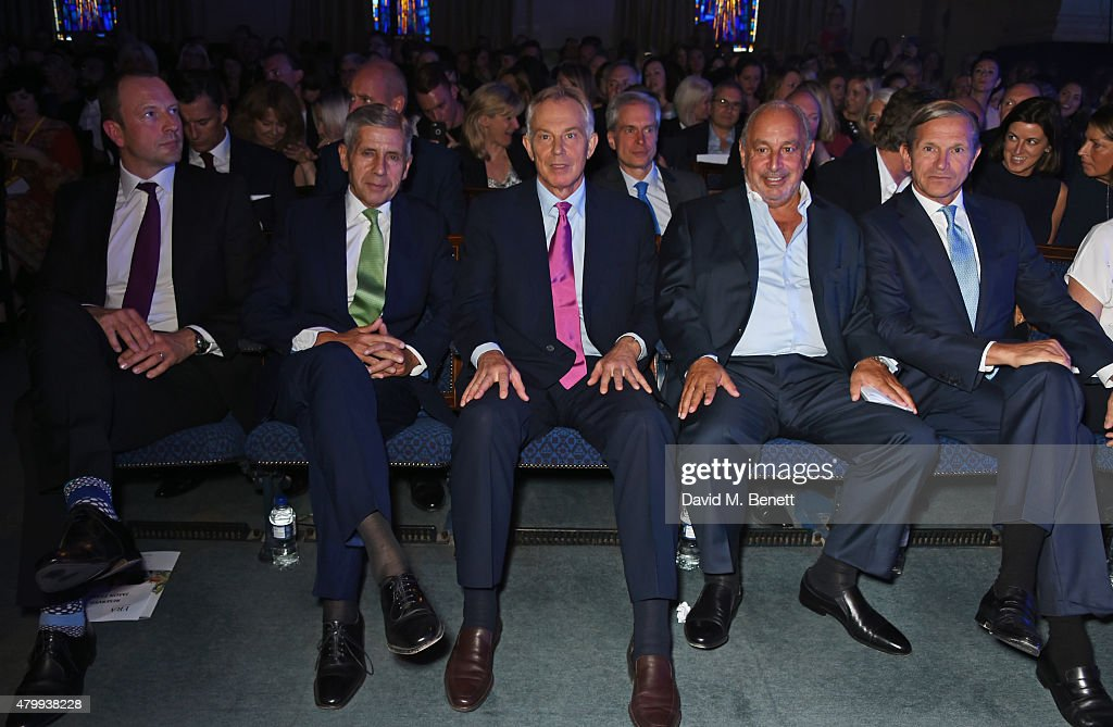 Jason Tarry, Lord Stuart Rose, Tony Blair, Sir Philip Green and Marc Bolland attend the Fashion Retail Academy 10th Anniversary Awards at Freemasons' Hall on July 8, 2015 in London, England.