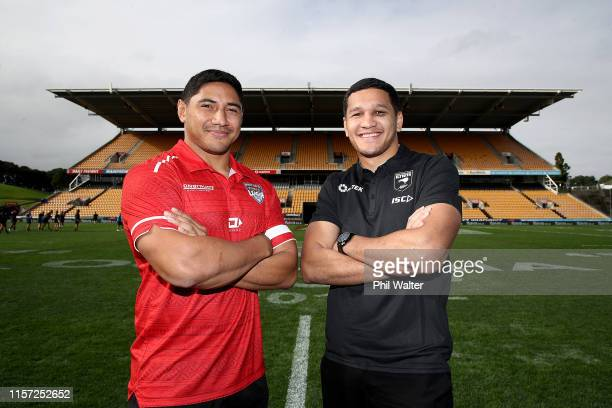Jason Taumalolo captain of Tonga and Dallin WateneZelezniak Kiwis Captain pose for a photo ahead of the International Rugby League Test Match between...