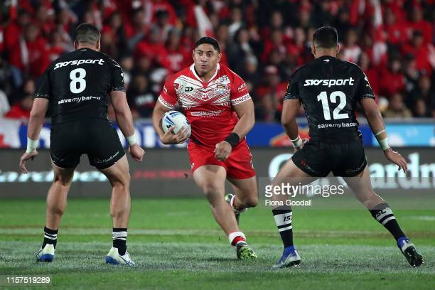 Jason Taumalolo of Mate Ma'a Tonga looks for a gap during the Oceania league test between the Kiwis and Mate Ma'a Tonga at Mt Smart Stadium on June...