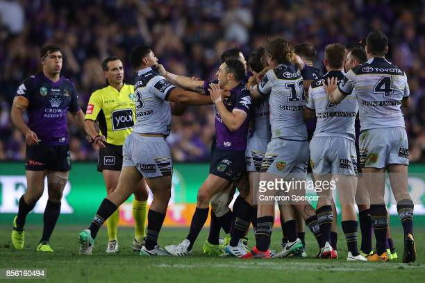 Jason Taumalolo of the Cowboys and Billy Slater of the Storm during the 2017 NRL Grand Final match between the Melbourne Storm and the North...